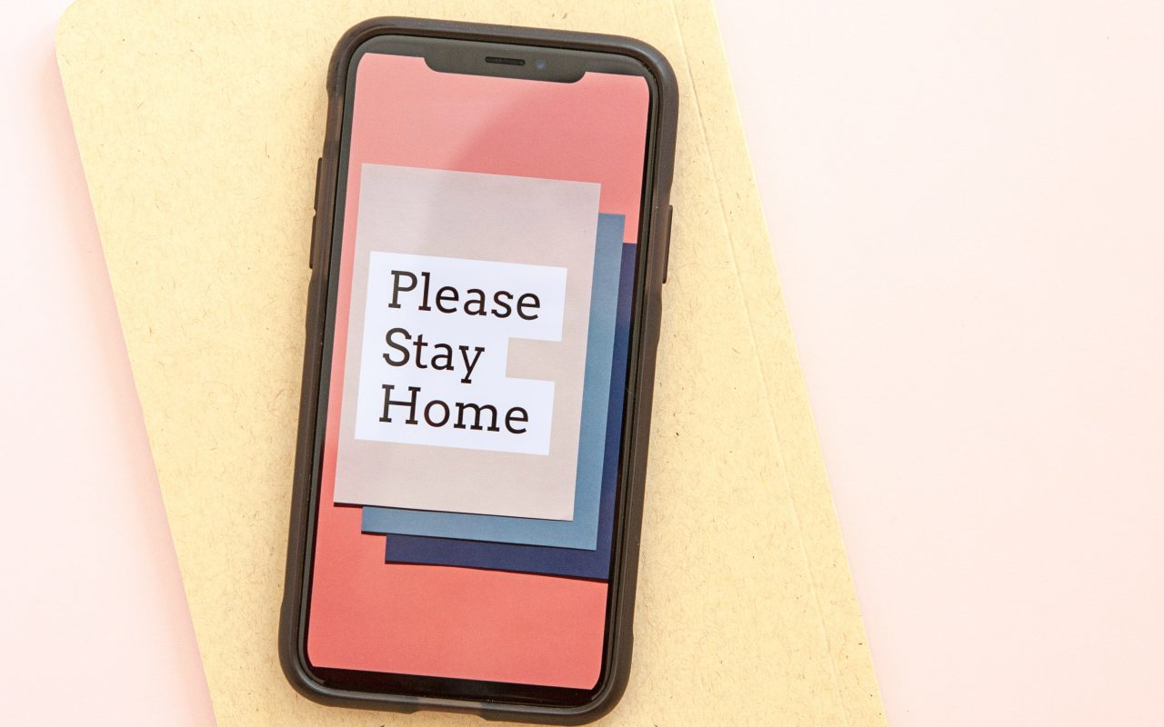Please Stay Home on mobile phone home screen